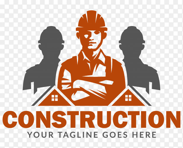 Construction logo premium vector PNG