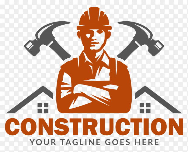 Construction logo template on transparent background PNG