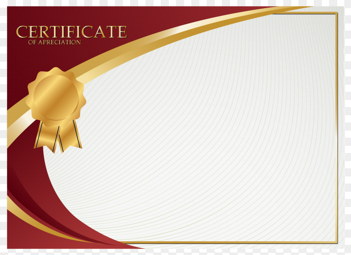 Creative certificate of appreciation award template on transparent background PNG