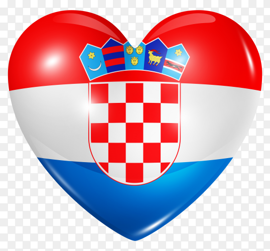 Croatia flag in heart shape on transparent background PNG