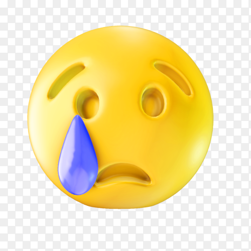 Cry face emoji on transparent background PNG
