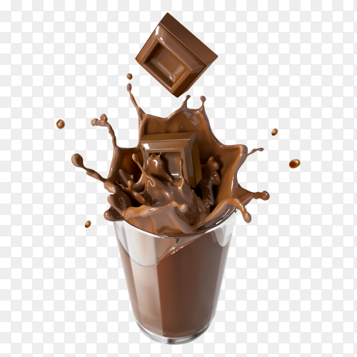 Cup chocolate milk splash on transparent background PNG