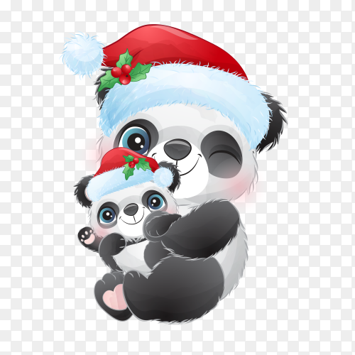 Cute doodle panda for Christmas day with watercolor illustration on transparent background PNG