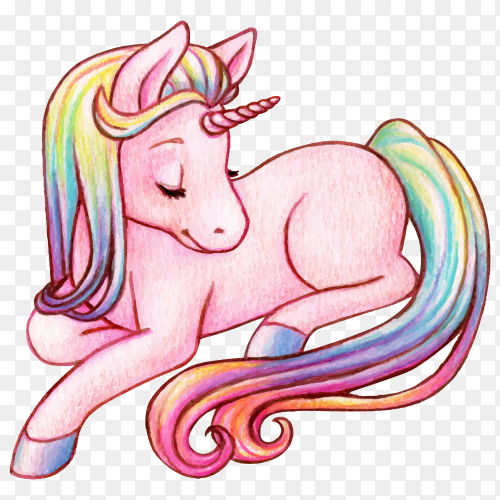 Cute watercolor rainbow unicorn on transparent background PNG