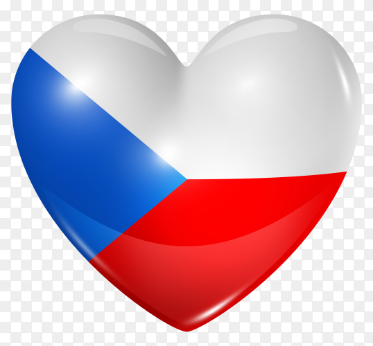 Czech republic flag in heart shape on transparent background PNG