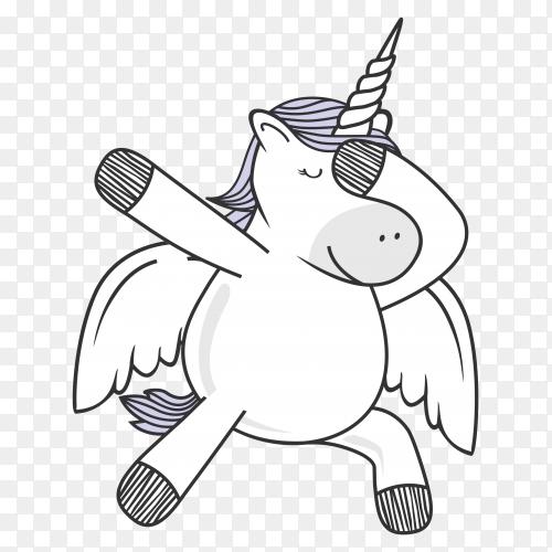 Dabbing unicorn dance on transparent background PNG