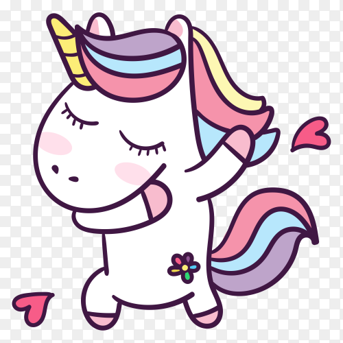 Dabbing unicorn with hearts on transparent background PNG