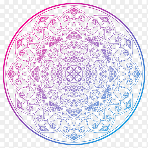 Decorative colorful mandala on transparent background PNG