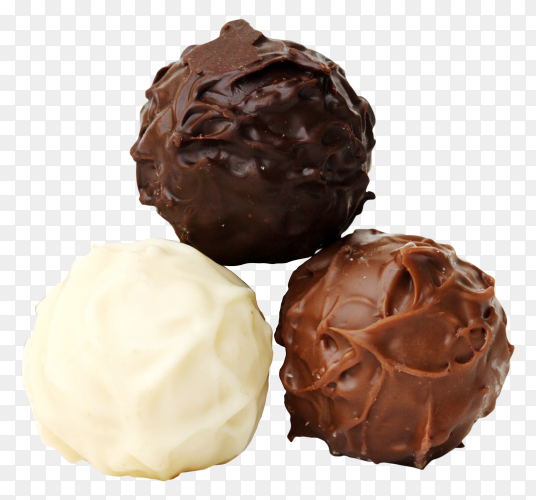 Delicious chocolate candy balls on transparent background PNG