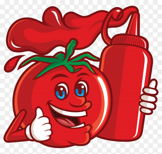 Delicious tomato with a funny cartoon character holding a tomato sauce bottle on transparent background PNG