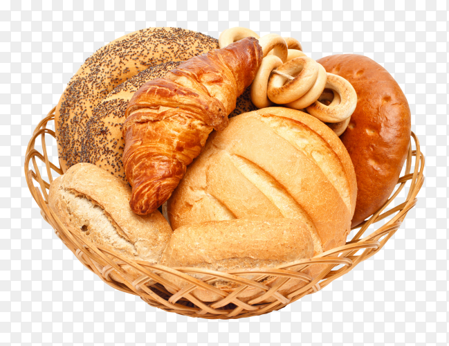 Delicious white and whole-grain bread in basket on transparent background PNG