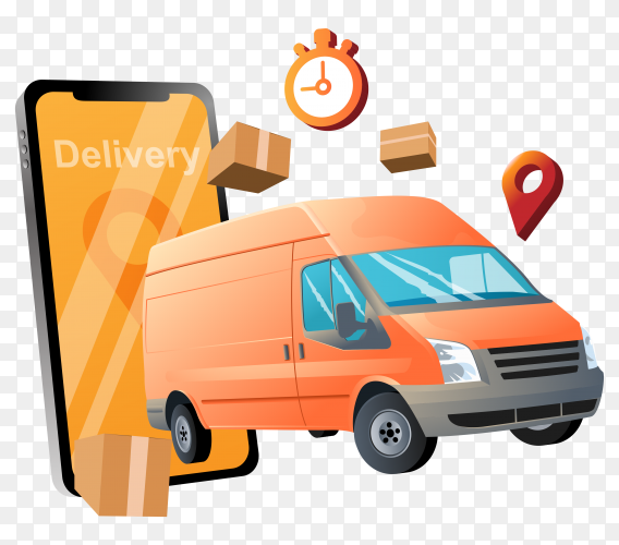 Delivery service with car on transparent background PNG