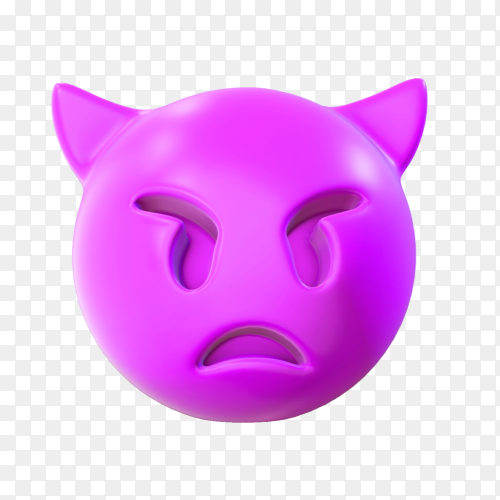 Demon angry face emoji premium vector PNG