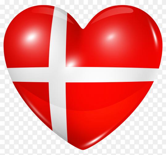 Denmark flag in heart shape on transparent background PNG