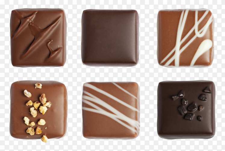Different kind of chocolates on transparent background PNG