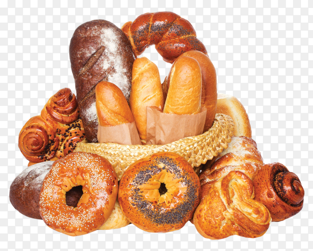 Different kinds of fresh bread in basket on transparent background PNG