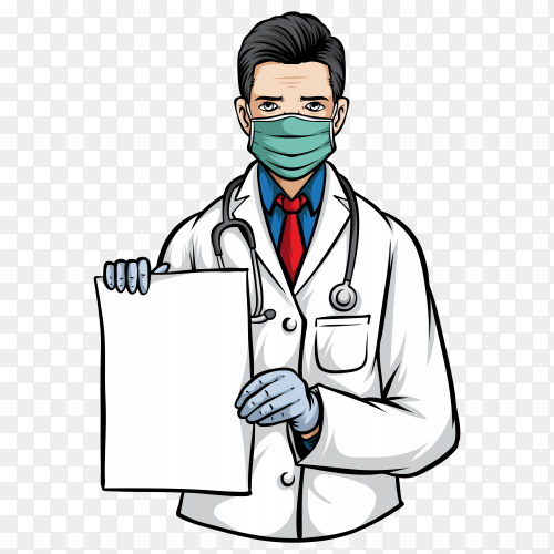 Doctor holding paper and wearing medical mask illustration on transparent background PNG