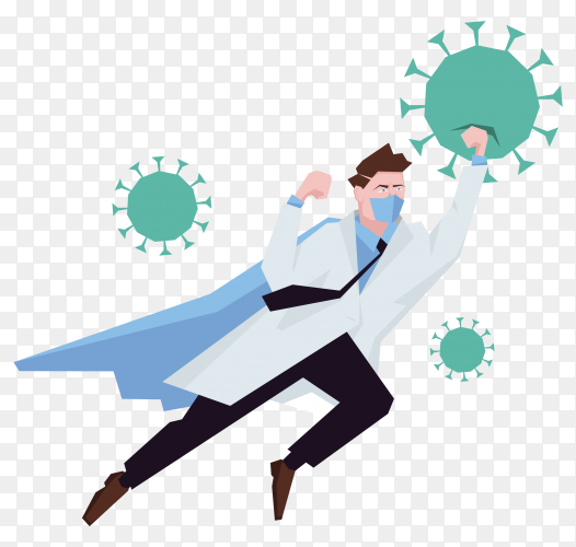 Doctor superhero fighting the coronavirus on transparent background PNG