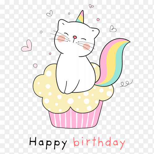 Draw kittycorn sitting on cupcake for birthday on transparent background PNG