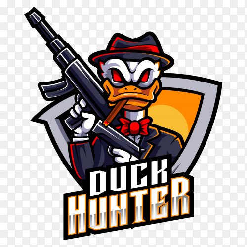 Duck hunter esport mascot logo on transparent background PNG