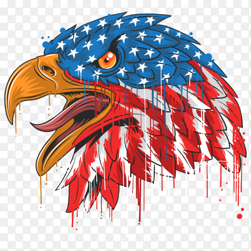 Eagle head America usa flag independence day on transparent background PNG