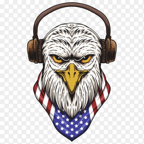 Eagle head with American USA flag on transparent background PNG