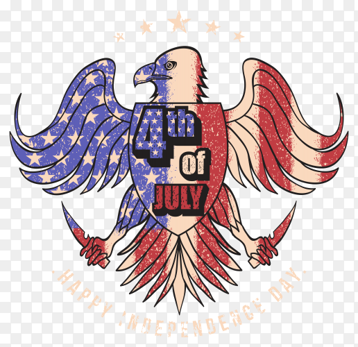 Eagle USA flag 4th July on transparent background PNG