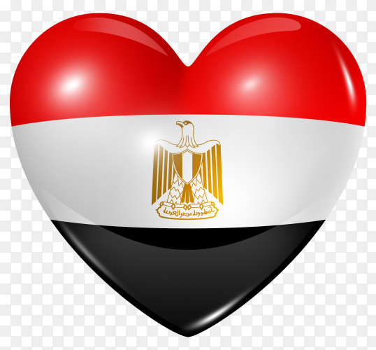 Egypt flag in heart shape on transparent background PNG