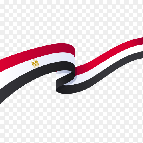 Egypt flag in ribbon shape on transparent background PNG