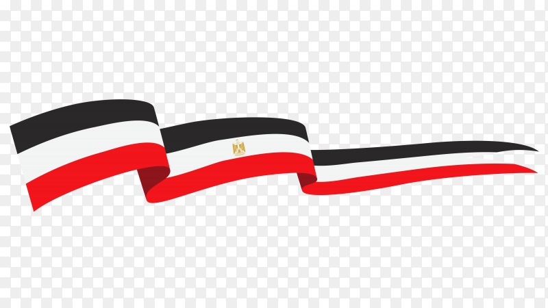 Egypt flag wave on transparent background PNG