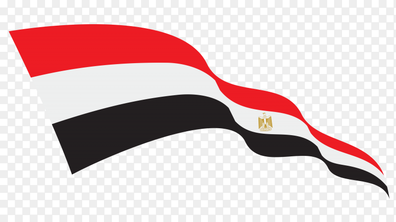 Egypt waving flag on transparent background PNG