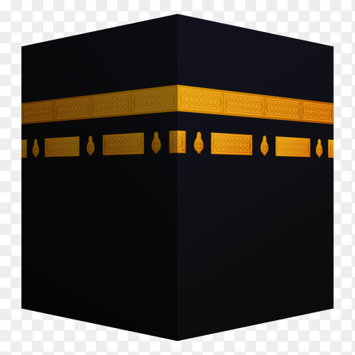 Eid al adha islamic event. hajj mabrour. 3d kaaba realistic on transparent background PNG