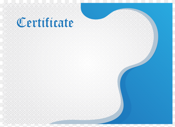 Elegant blue diploma certificate template on transparent background PNG