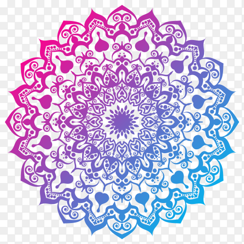 Elegant colorful mandala on transparent background PNG