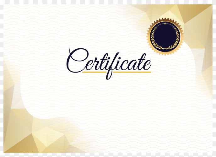 Elegant gold diploma certificate template on transparent background PNG
