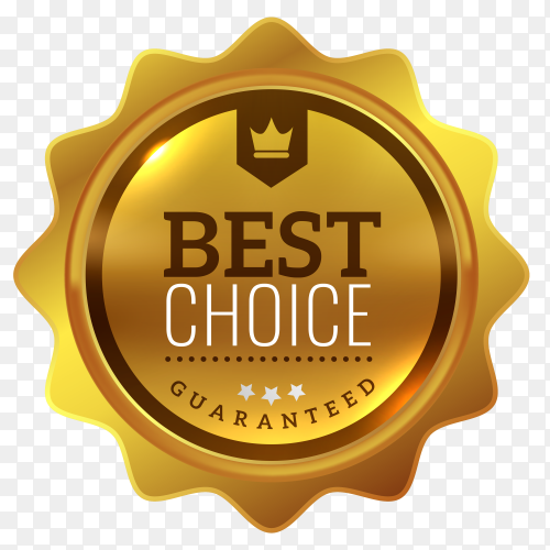 Elegant golden best choice badge isolated premium vector PNG