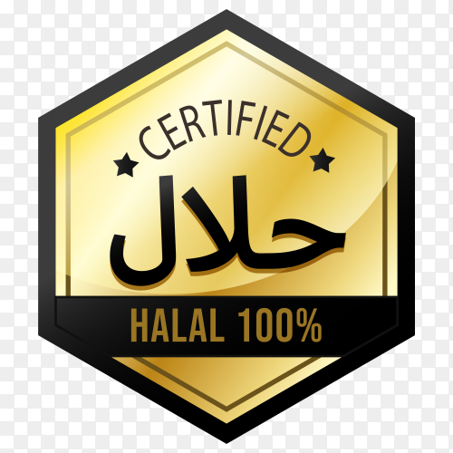 Elegant halal food labels with golden style on transparent background PNG