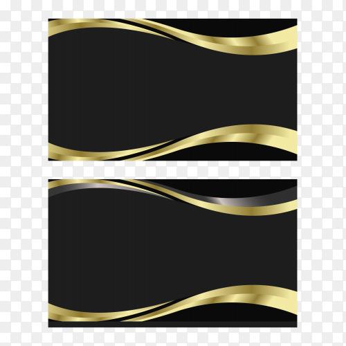 Elegant minimal black and golden business card template on transparent background PNG
