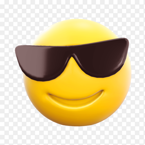 Emoji face with sunglasses on transparent background PNG