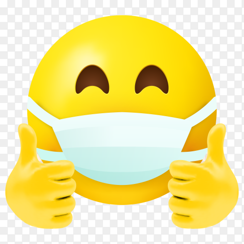 Emoji with mouth mask and thumbs up on transparent background PNG