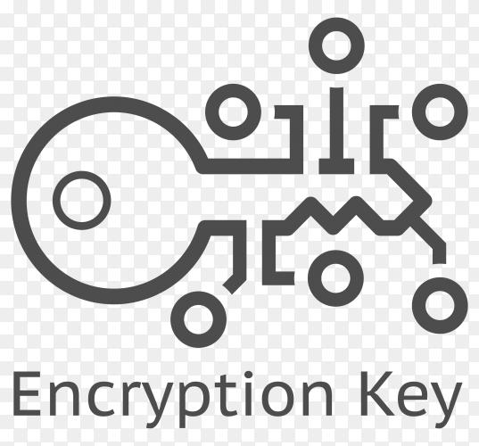 Encryption key logo on transparent background PNG