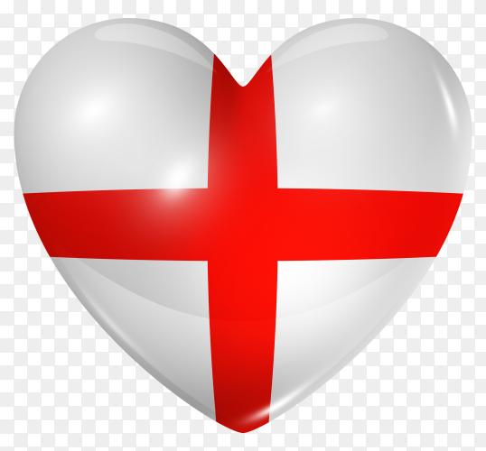 England flag in heart shape on transparent background PNG
