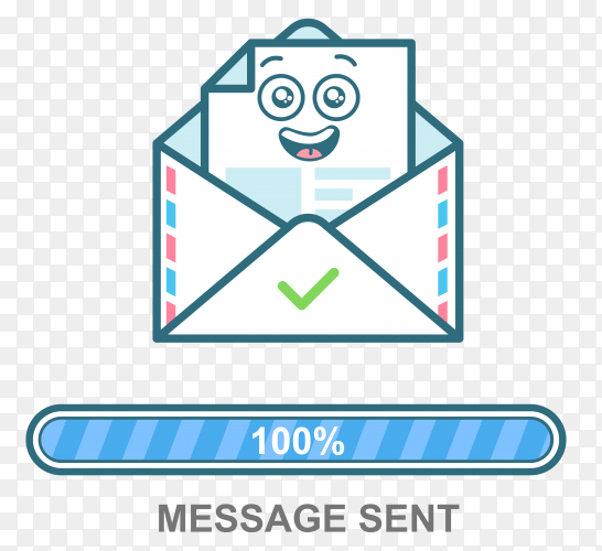 Envelope emoticon. flat illustration email character design with progress bar on transparent background PNG