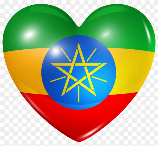 Ethiopia flag in heart shape on transparent background PNG