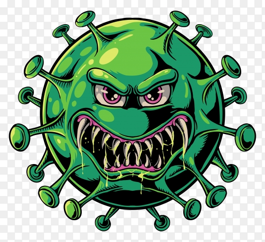 Evil coronavirus illustration on transparent background PNG
