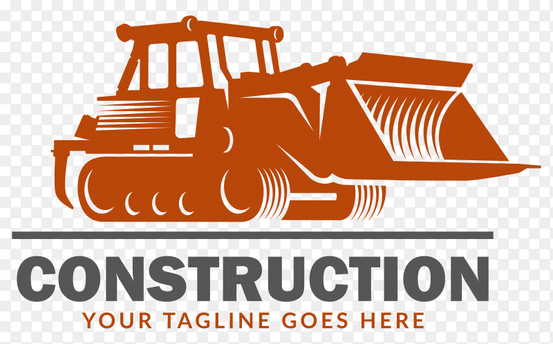 Excavator construction logo on transparent PNG