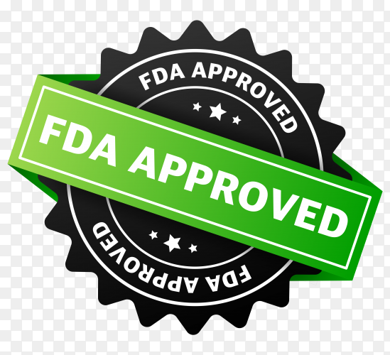 FDA approved banner design on transparent background PNG