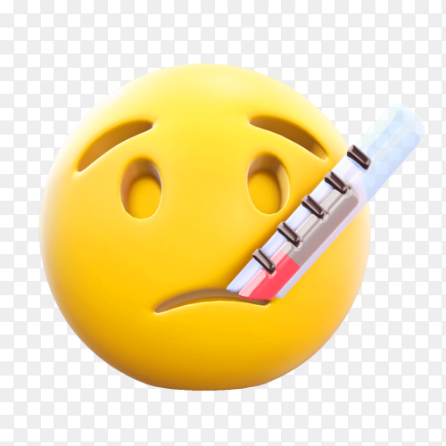 Face emoji with thermometer on transparent background PNG