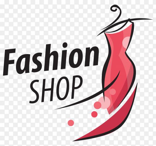 Fashion shop logo design on transparent background PNG