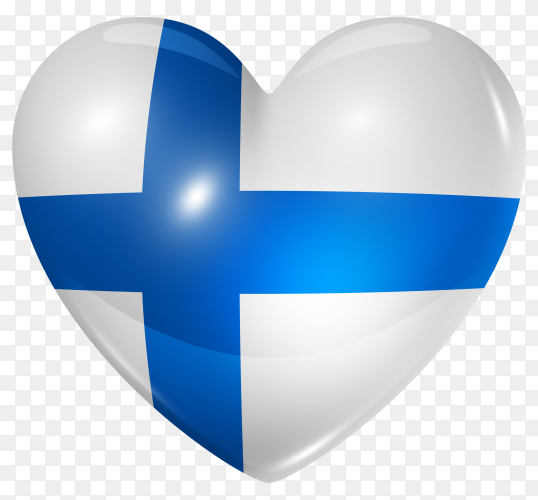 Finland flag in heart shape on transparent background PNG